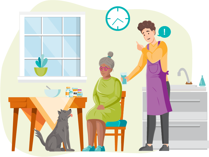 A caregiver helping a client with her medications