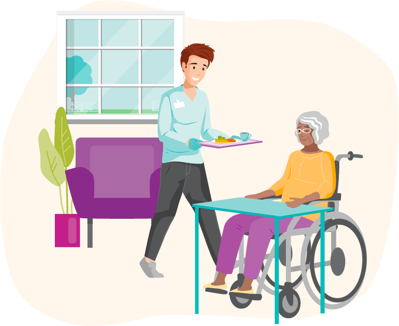 A caregiver bringing dinner to a client