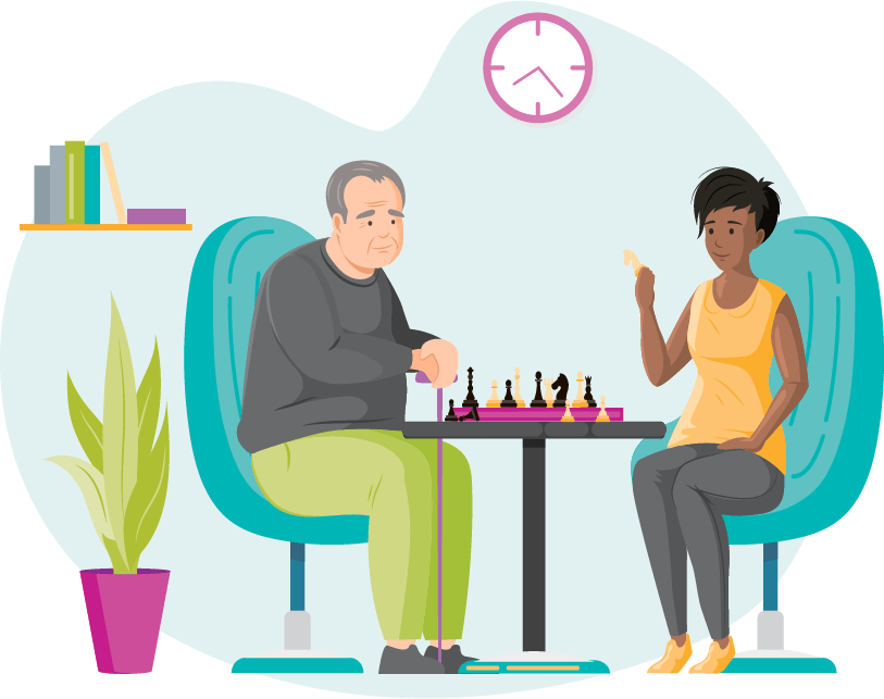 Illustration of a caregiver and her client playing chess together