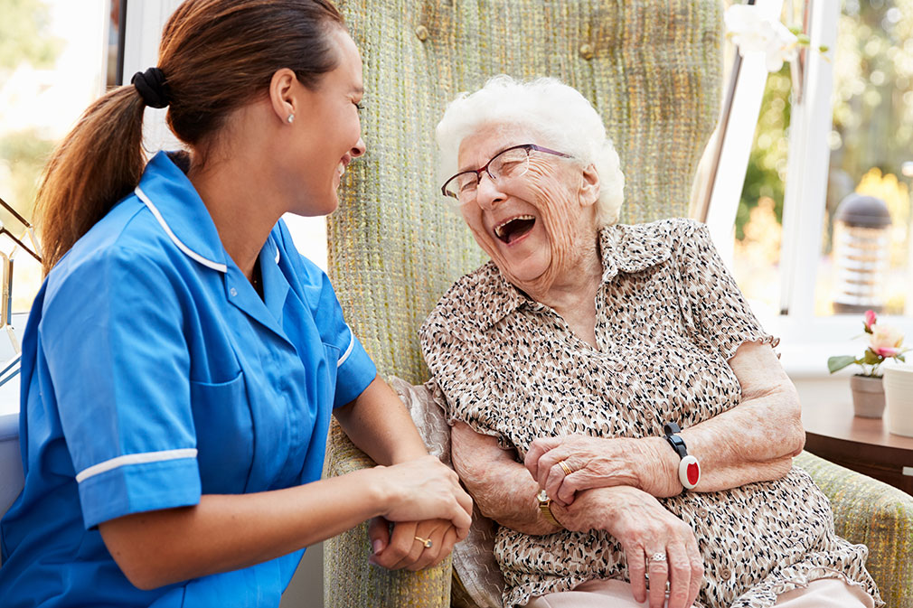 A client and caregiver